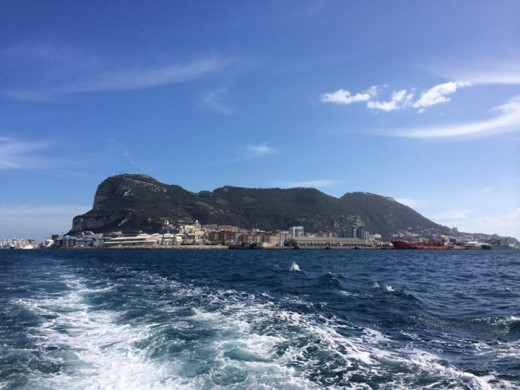 View of Gibraltar from a boat in the bay.
