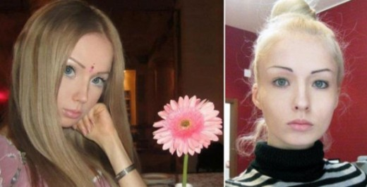 Before and after putting on cosmetic changes for Valeria Lukyanova