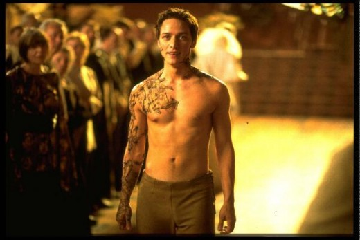 James McAvoy shirtless!  Children of Dune again. If I remember correctly, he spends most of the movie with his shirt off.