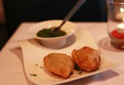 Vegetarian Samosas at Sutra Indian Restaurant in Vancouver