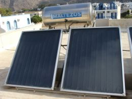 Solar panels on a roof in Greece