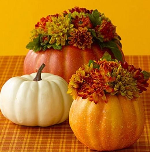Pumpkin and Flower centerpiece from allyou.com
