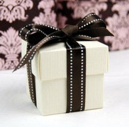 Simple white box with brown and white polka dot ribbon from Beau Coup