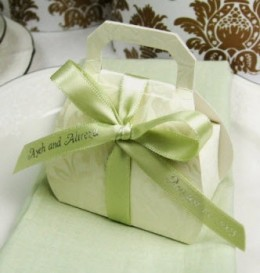 Embossed favor bags with ribbon and hangtag