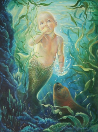"""The Mermaid Baby"" 18x24 oil on canvas by Kathy Ostman-Magnusen"