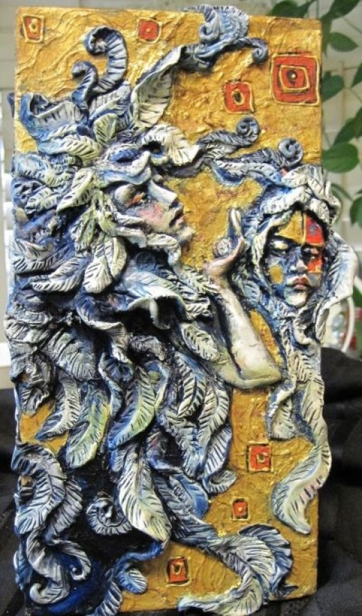 "My NEW piece, ""Leaving Klimt""   12x6x3 mixed media on canvas"