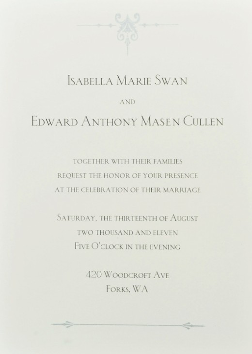 The invitation is a one sided card with black text and dainty silver details on top and bottom. It has a matching shimmery silver border. Interestingly enough, their parents names don't appear on the invitation.