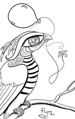 Hawksparrow Bird and Balloon: Surreal Colouring Page