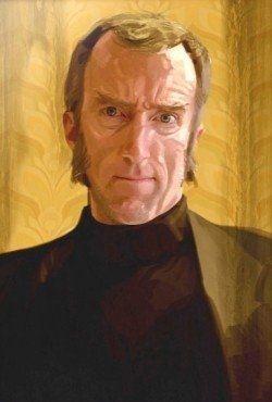 A portrait of Cave Johnson - with a lemon coloured background...