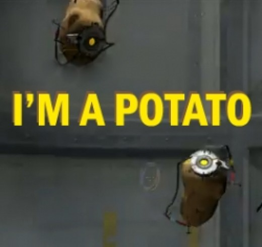 GLaDOS and Chell meet again - only this time, GLaDOS is a potato.