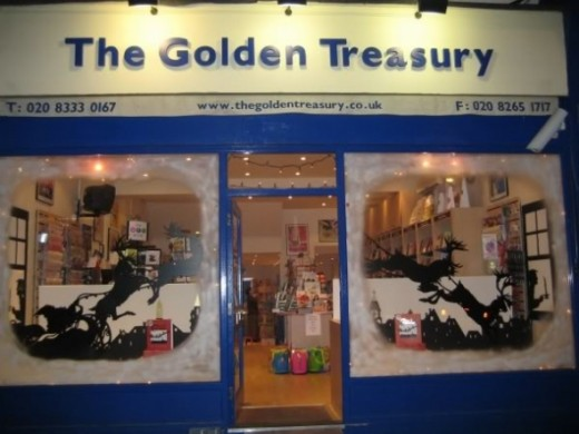 Reproduction of the Silhouettes in the Christmas window display of the Golden Treasury Bookshop in Southwest London
