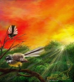 New Zealand Fantails at Sunrise by Flynn the Cat