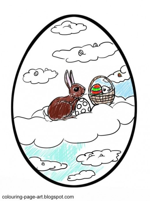 The Easter Bunny sit high in the clouds in this colouring page!