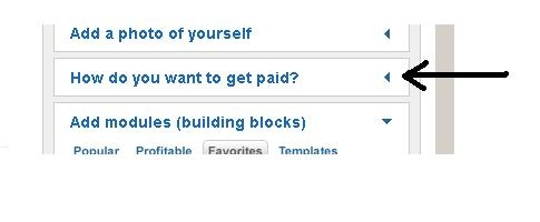 Click the 'How do you want to get paid?' option, in the Workshop.
