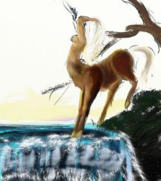 A deer centaur stretching by Flynn the Cat