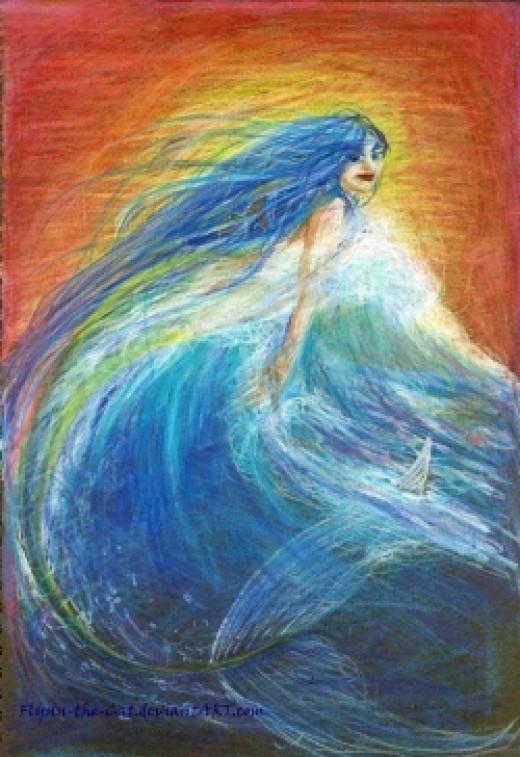 A New Dawn - traditional art mermaid by Flynn the Cat