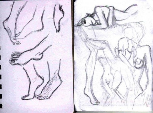 Figure studies: practicing feet and figure