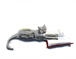 Library Cat - Silver cat holding a book