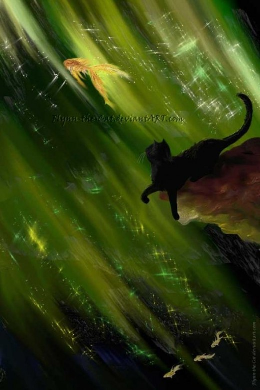 Black cat in green sea, watching a golden fish