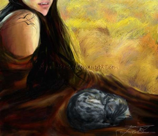 Autumn Colours - a realistic painting of my sister, wapped in a brown cloth, with a curled up little cat sleeping.