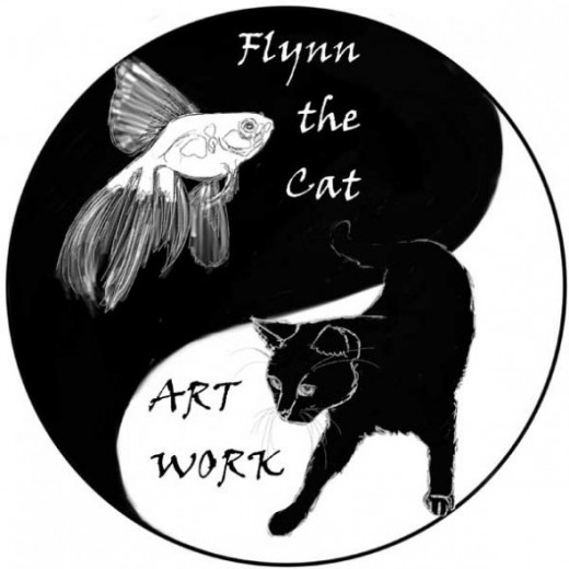 Yin Yang - Fish and Cat painting by Flynn the Cat