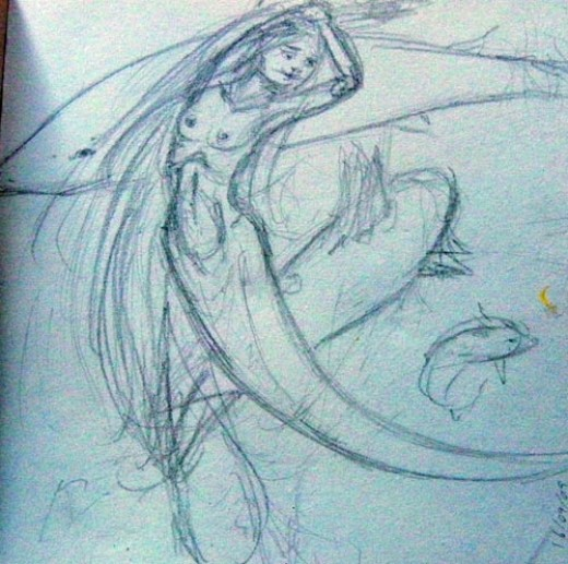 Mermaid Sketch With Sharks
