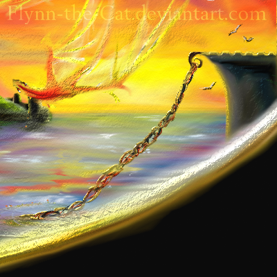 Closeup on one of the dragon and the harbour chain, and seagulls, as well as a bit of the sunset. Just below the dragon's head is the watchtower and if you look very closely you can see the tiny watchman, with his 2-3 pixel torch, burning, down at th