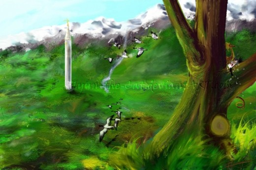 Goosekiller - Flying Geese and Golden Dragon - painting by Flynn the Cat