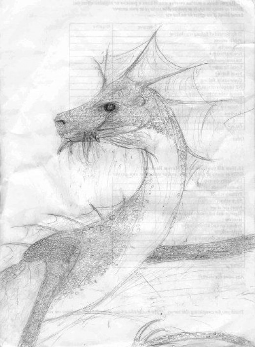 Fish-eating Dragon in Pencil