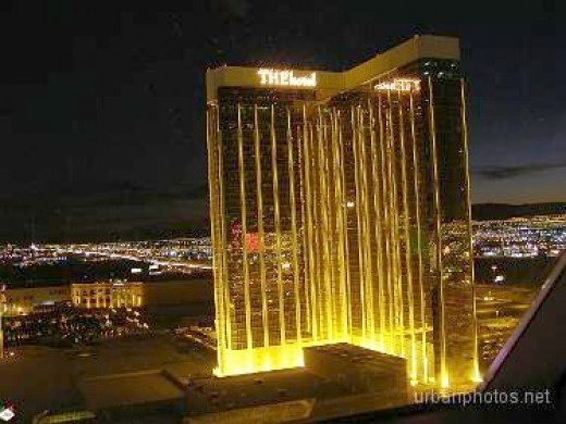 Mandalay Bay's second room tower, marketed as a separate property called Delano (formerly THEhotel). We shot this photo from the 30th floor of the Luxor pyramid on December 24, 2006.