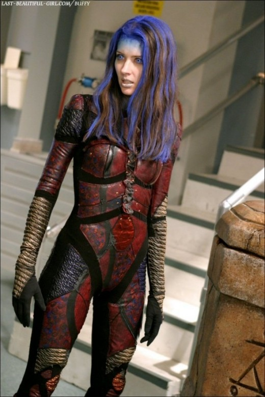 Full length view of Illyria in her armour