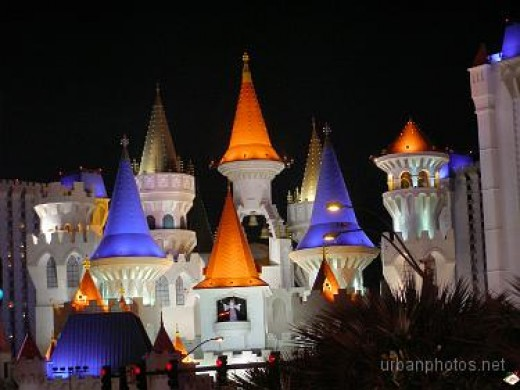 Excalibur Las Vegas at night.