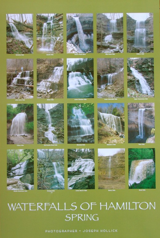 Poster showing 20 of Hamilton's waterfalls in springtime