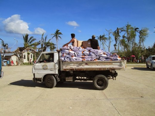 2nd truck full of shelter on the way to the barangay for delivery.
