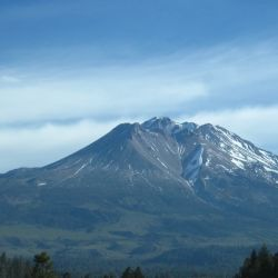 A view of Mount Shasta from Interstate 5.