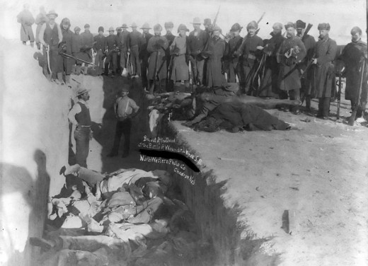 Mass grave for the dead Lakota after massacre of Wounded Knee