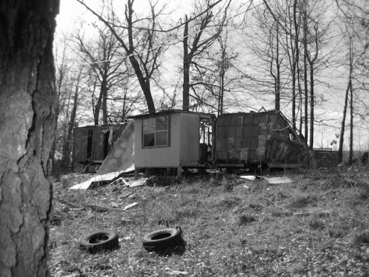 This trailer just don't travel anymore.  County road 8350, Madison County Arkansas.
