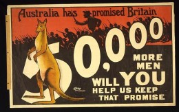 Australian World War I Recruiting Poster  (Photo courtesy of U.S. Library of Congress, Prints & Photographs Division, WWI Posters,reproduction number,[LC-USZC4-12172])