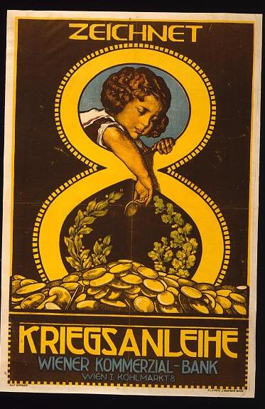 Austrian WW I poster showing little girl contributing coins to war bond effort  (Photo courtesy of U.S. Library of Congress, Prints & Photographs Division, WWI Posters,reproduction number,[LC-USZC4-12198])