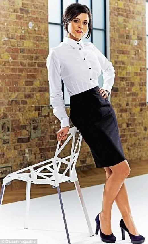 Lucy Verasamy in a white and black number