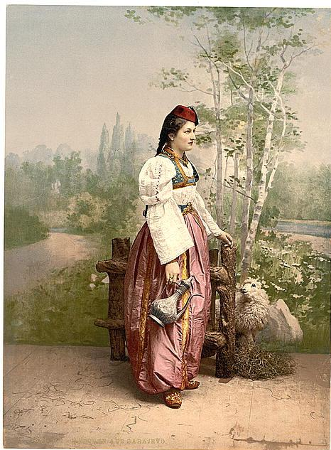 Girl in traditional dress in Sarajevo,Bosnia in 1890s  (Photo courtesy of U.S. Library of Congress, Prints & Photographs Division, reproduction number,[LC-DIG-ppmsc-09316 ])