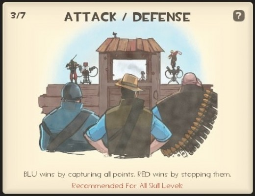 Attack/Defense - Your team must either capture or defend several points on the map to win.