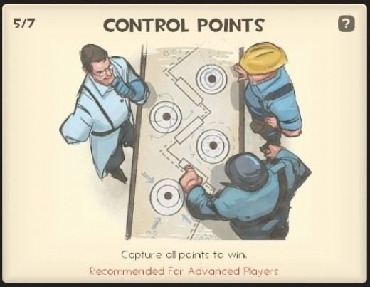 Control points - each team must capture all the control points on the map to win.