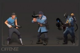 Offense - Made up of the Scout (very fast moving), the Soldier (with a bazooka), and the Pyro (with a flamethrower).