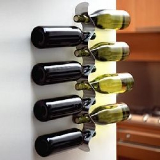 Brushed stainless steel wine rack