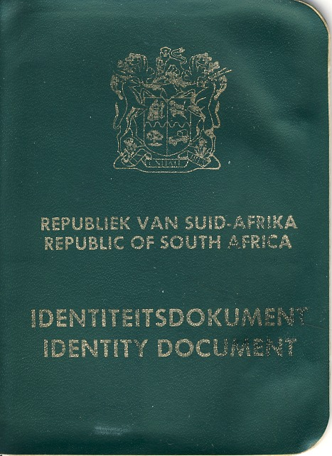 The cover of my rather battered ID Book. It was issued in 1993 and so still has the old South African Coat of Arms