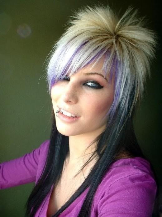 Textured emo girl hairstyle