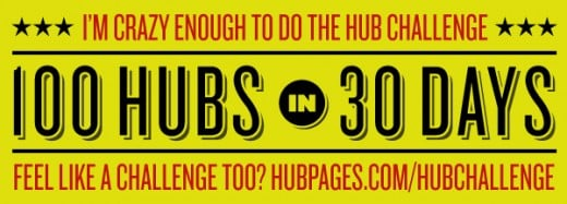 Here it is -- the great graphic for the 100 Hubs in 30 days Challenge.