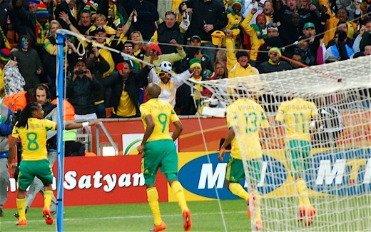 South African Players celebrate their goal against Mexico at Soccer City in inaugural match of world cup 2010