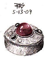 Sketch of a glass gemmed silver Renaissance museum replica pillbox by Robert A. Sloan, Derwent Graphitints.